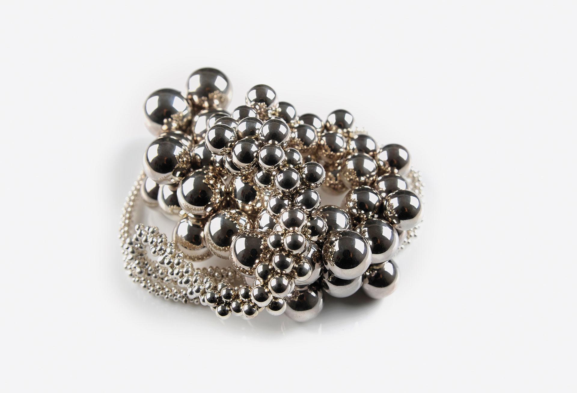 Bubble, Kette, Feinsilber-Granulat, Silber 935, Nylon