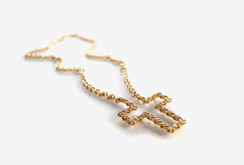 Motivierte-Zeichen-Kreuz,-Gold-750