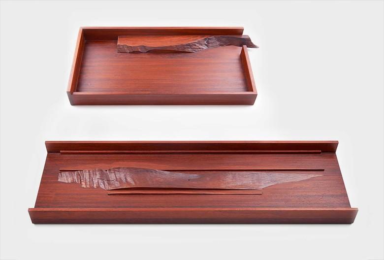 Schalen. Padoukholz, geölt, 74,5 × 23 × 4,5 cm, 45 × 21 × 5 cm.