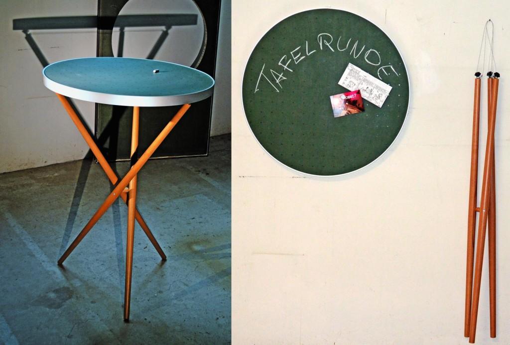 Tafelfreuden, Stephan Flick. Tafelrunde – ein Recyclingmöbel aus alten Schultafeln als Couchtisch, Bistrotisch, Stehtisch