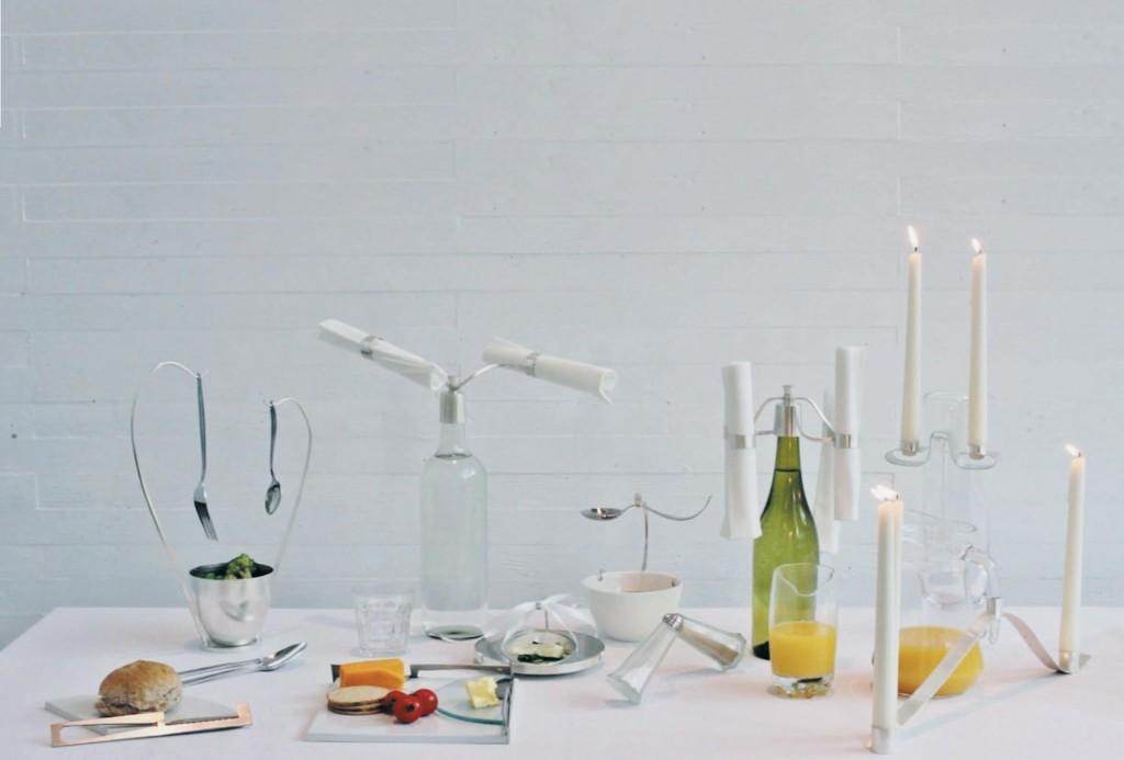 Tafelfreuden, Kathleen Reilly. Tischkollektion Enjoy Your Meal!, 2015. Weißmetall, Edelstahl, Glas, Keramik